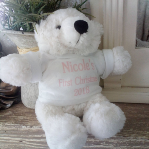 Personalised Baby's First Christmas Bear